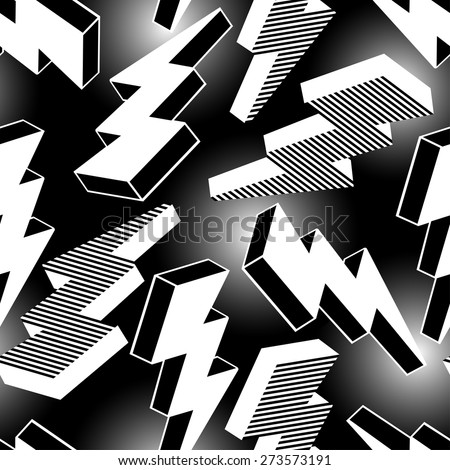 White abstract lightning seamless pattern . - stock vector