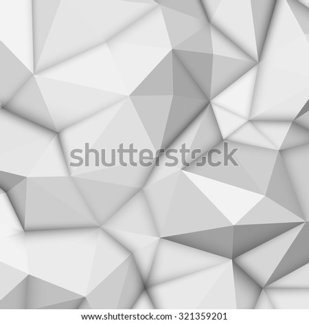 White abstract low-poly, polygonal triangular mosaic background for design concepts, posters, banners, web, presentations and prints. Vector illustration. Realistic 3D render design template - stock vector