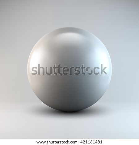 White abstract sphere, ball, pearl with realistic shadow and light background for logo, design concepts, web, presentations and prints. 3D render design. Vector illustration.