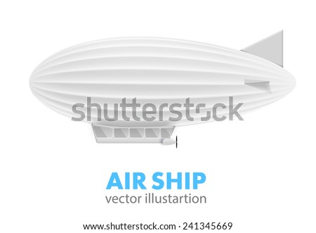 white air ship isolated on white - stock vector