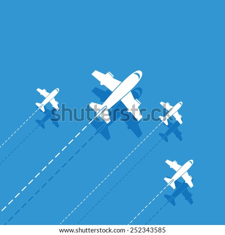 White aircraft on a blue background - stock vector
