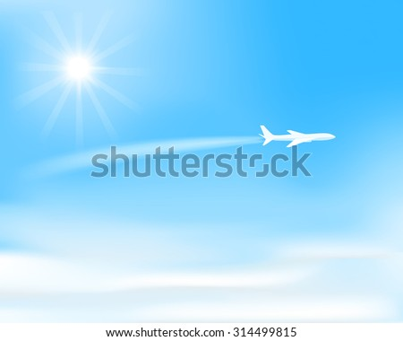 white airplane flying  over clouds, visible trace of plane, sun on  blue sky, vector illustration - stock vector
