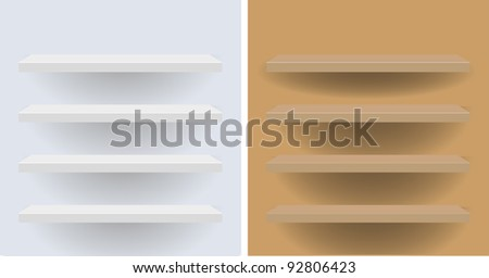 white and beige vector shelves for your design - stock vector