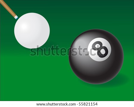 white and black ball for billiards vector illustration