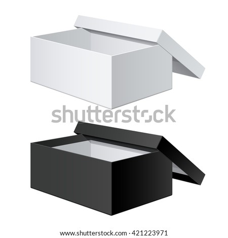 White and Black blank Package Box Opened with the cover removed. For shoes, electronic device and other products. Vector illustration - stock vector