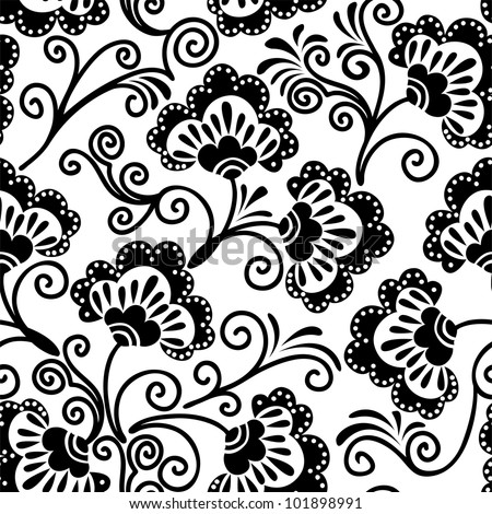 white and  black floral background, which can be used as seamless - stock vector