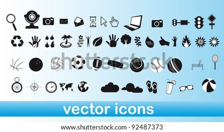 white and black icons over blue background vector illustration - stock vector