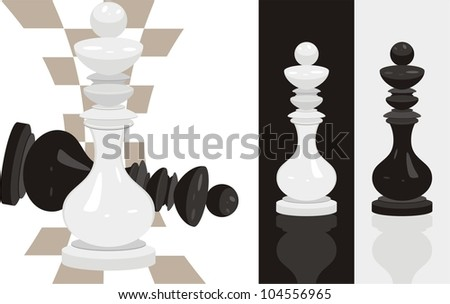 White and black king chess. Vector - stock vector