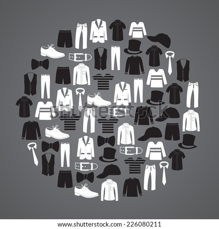 white and black man clothing icons in circle eps10 - stock vector