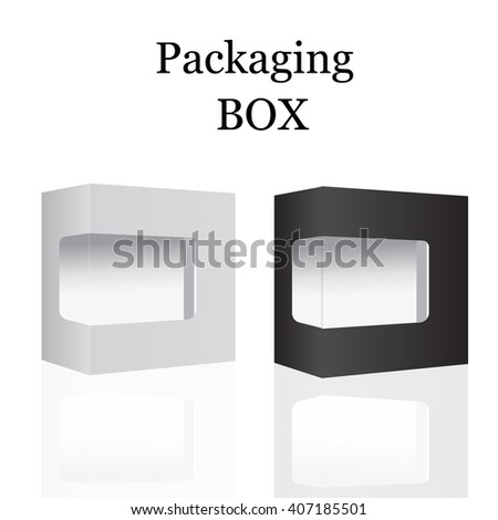 White and Black Modern Package Box With White Window. For Software, DVD, CD, Electronic Device and other. Vector Illustration. Package Box.  Package Box.  Package Box.  Package Box.  Package Box. - stock vector