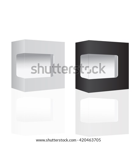 White and Black Modern Software Package Box For DVD, CD Disk Or Other Your Product. Vector Illustration - stock vector