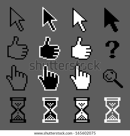 White and black mouse pixel cursors vector collection - stock vector