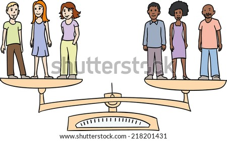 White and black people on a scale representing equality, against discrimination. Simple vector illustration concept - stock vector
