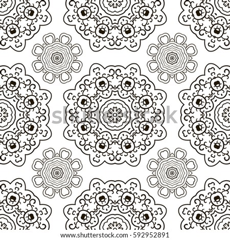 White and Black seamless doodle pattern, ethnic ornament. Hand drawn abstract background. Mandala motives. Pattern