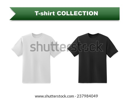 White and black t-shirt template collection, vector eps10 illustration - stock vector