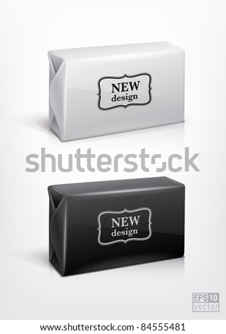 White and black wrap box package for new design. Eps10 vector - stock vector