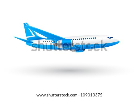 White and Blue Airplane Icon - stock vector