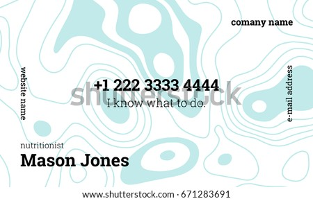 White blue business card template nutritionist stock vector white and blue business card template for nutritionist us standard size 35x2 in reheart Choice Image