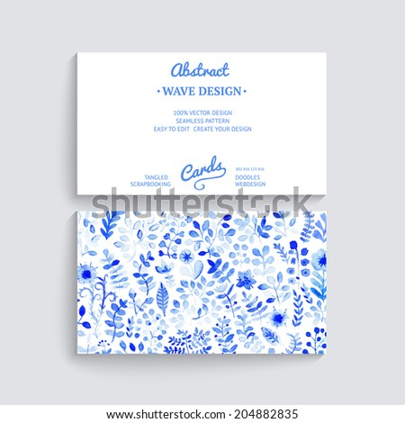 white and blue flower gzhel vector watercolor texture with flowers floral