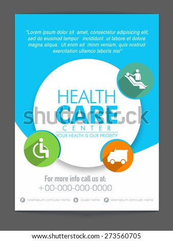 White and blue flyer with colorful medical icons for Health Care Center.  - stock vector