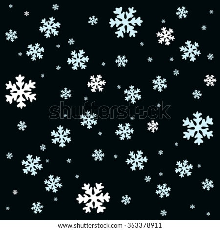 white and blue snow flakes over black  background, abstract vector art illustration