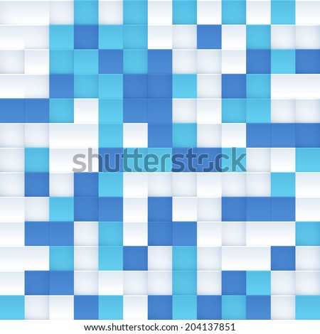 White and blue vector squared mosaic seamless pattern tile - stock vector