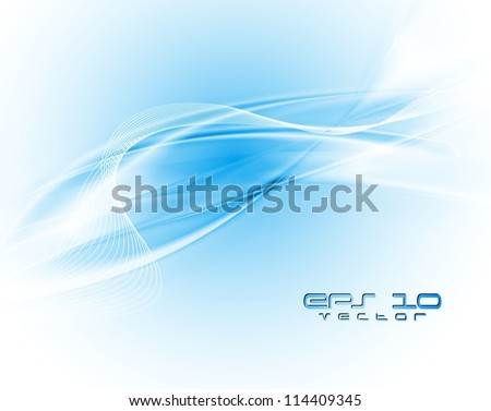 White and blue waves. Eps 10 vector background - stock vector