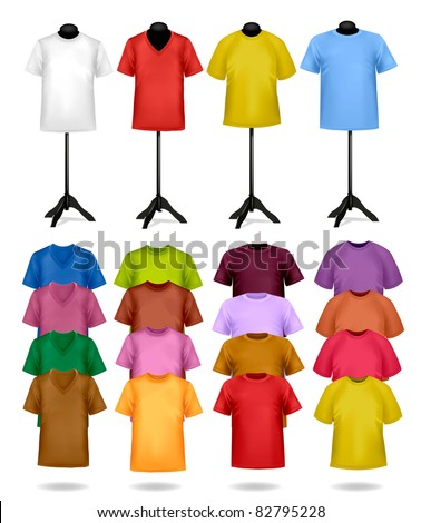 White and color t-shirts on mannequins. Vector illustration. - stock vector