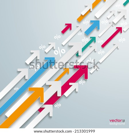 White and colored arrows with percents on the grey background. Eps 10 vector file. - stock vector