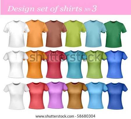 White and colored men and women polo shirts. Photo-realistic vector illustration. - stock vector