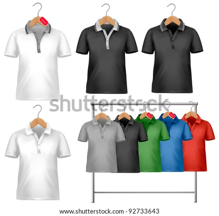 White and colorful t-shirt design template. Clothes hanger with shirts with price tags. Vector illustration. - stock vector