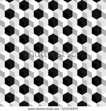White and gray cubic texture pattern with accentuated black cubes - stock vector