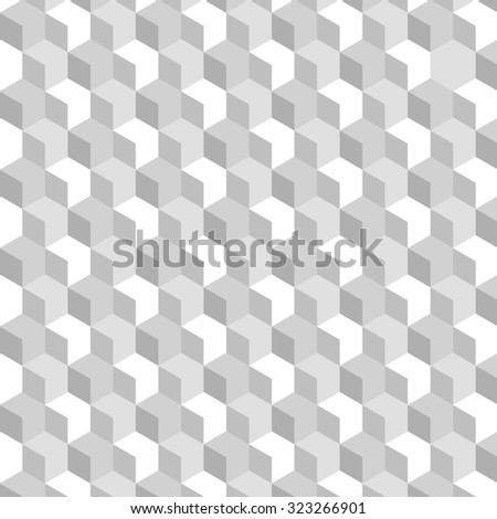 White and gray cubic texture pattern with accentuated white cubes - stock vector