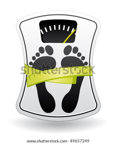 White and green bathroom scale icon for healthy weight concept. Vector illustration. - stock vector