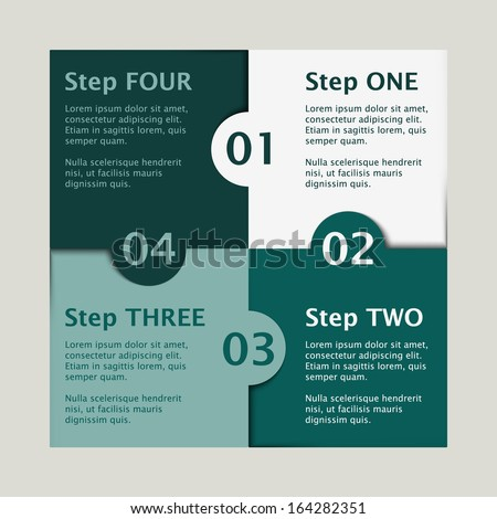 white and green colored puzzle infographic concept with numbers one, two, three and four and text - stock vector