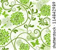 White and green seamless floral pattern with curls and  butterflies (vector) - stock photo