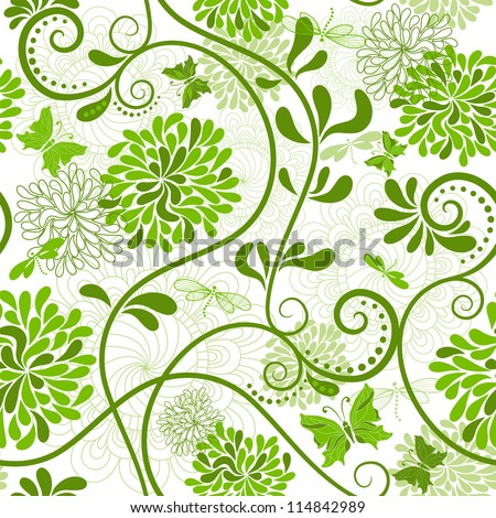 White and green seamless floral pattern with curls and  butterflies (vector) - stock vector