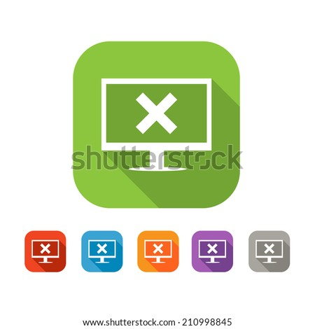 White and green square flat  icon with computer and cross or error sign. Color set in red, blue, orange and purple and grey colors - stock vector