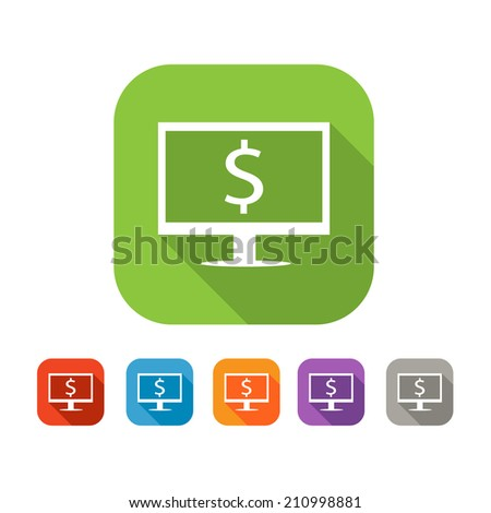 White and green square flat  icon with computer and dollar. Online payment or shopping sign with color set in red and blue, orange, purple and grey colors - stock vector