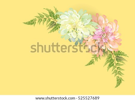 white and pink flowers frame or border  background vector illustration
