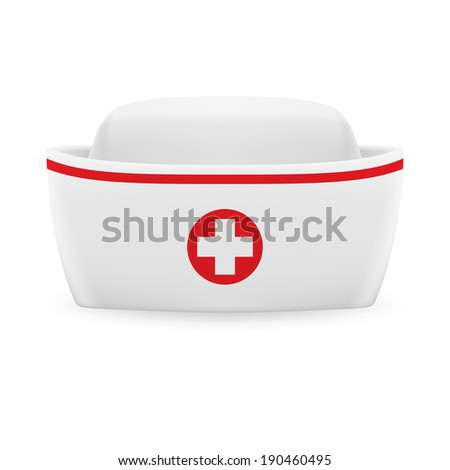 White and red nurse cap with on white background  - stock vector