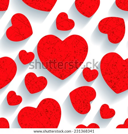 White and red seamless texture in the form of application of hearts
