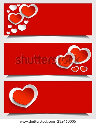 White and red Valentine's cards, red and white background with red and white hearts. Happy Valentine's day.