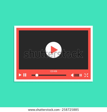 white and red video player interface sticker. concept of streaming television, communication, tv clip, motion filmstrip. isolated on green background. flat style modern design vector illustration - stock vector