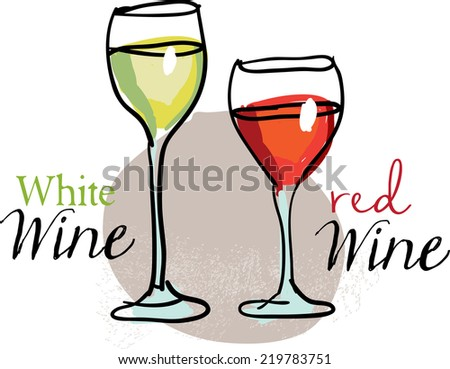 White and red wine - stock vector