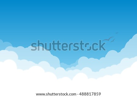 White and transparent clouds on the blue sky with flying birds.