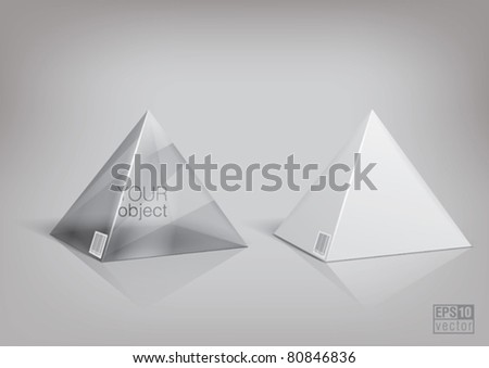 White and transparent  pyramid package for new design. Eps10 vector - stock vector