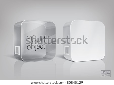 White and transparent rectangle package with rounded corner, for new design. Eps10 vector - stock vector