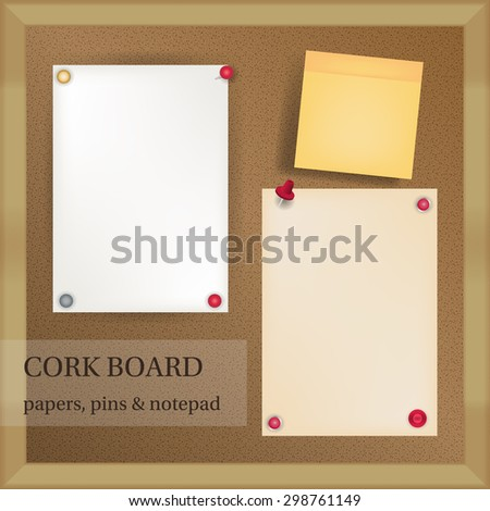 white and yellow papers with pins and note pad on dark cork board with wood frame - stock vector