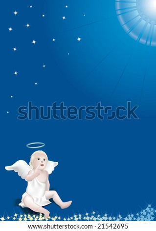 White angel pointing at the blue sky full of stars and heavenly glare - stock vector